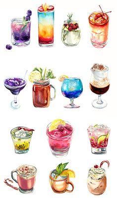 # Food and Drink art paintings Cocktails Dessert Illustration, Illustration Noel, Watercolor Illustration, Food Design, Desserts Drawing, Cute Food Drawings, Drawing Of Food, Cute Food Art, Watercolor Food