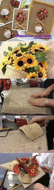 La arpillera, el yute y la maceta. Jute Crafts, Easy Crafts, Diy And Crafts, Burlap Projects, Diy Projects To Try, Art N Craft, Craft Work, Burlap Flowers, Paper Flowers