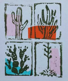 Cacti Cacti, Cactus Plants, South By Southwest, Scratchboard, Cactus Art, Food Coloring, Printmaking, Stamping, Mixed Media