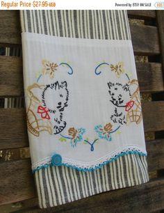 On Sale Autumn Tea Towel Vintage Linen & Cross Stitching