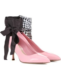 Miu Miu - Patent leather pumps - The contrasting plain black and gingham ribbon ties give the classic silhouette an elegant lift, while the patent finish to the rosy pink leather locks in that sleek edge the brand is revered for. Let them update a winning workwear ensemble. - @ www.mytheresa.com