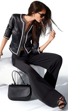 Super-soft jacket, made of nappa lamb leather with a naturally glossy finish, in short, slim, moderately tailored shape. Black Leather Jacket Outfit, Madeleine Fashion, Wide Trousers, Blue Jumpsuits, Summer Jacket, Stunning Dresses, Leather Fashion, Women's Fashion, Stylish Outfits