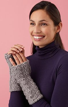 Ravelry: Loom Knit Cable Wristers pattern by Lion Brand Yarn