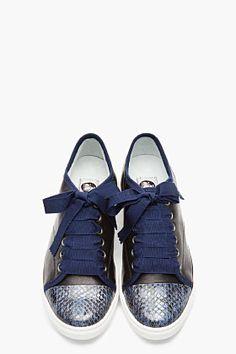 LANVIN Blue snakeskin & lambskin ribbon-laced sneakers