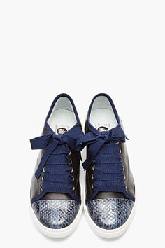 LANVIN Blue snakeskin & lambskin ribbon-laced sneakers