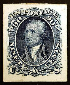 Scott U.S. #72P4 90c Blue 1861 Proof on Card Mint XF, Mint Hinged, very well centered, no gum as issued, minor toning, Rich Fresh Color item # 131135652640