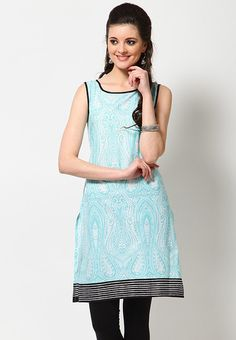 Cotton Printed Blue Kurta - KURTIS & KURTAS - WOMEN