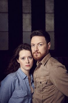 James McAvoy as Macbeth and Claire Foy as Lady Macbeth performing in a futuristic version of Shakespeare's Macbeth.