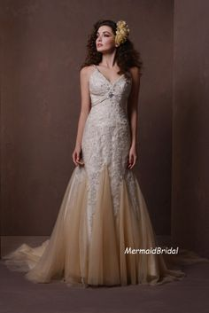 Champagne Fit and Flare Mermaid wedding dress, Vintage lace Wedding Dresses, Lace Applique with Dual straps and Beads on Etsy, $389.99