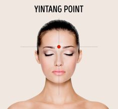 The third eye point, or Yintang, is right between the eyebrows, right where the bridge of your nose passes into the forehead.