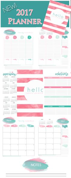2017 Printable Planner watercolor theme! Isn't it beautiful! I love how the pages are white so not much ink would be used. #2017 #2017printableplanner #2017planner #printables #2017calendar #breezyorganization #2017weekly #2017monthly  https://www.etsy.com/listing/483510121/2017-printable-planner-pages-planner?ref=listing-shop-header-0