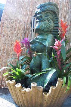"""Blast from the past"" Tiki Fountain -- Tiki Central Tiki Art, Tiki Tiki, Tropical Pool Landscaping, Chicken Potpie, Tiki Statues, Tiki Bar Decor, Tiki Totem, Tiki Lounge, Vintage Tiki"