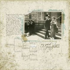 Ancestry Scrapbooking Layouts | Building a family heritage scrapbook? Our new Genealogy Brushes can .  I like how they added a portion of the chart featuring the subject in the pages' background...