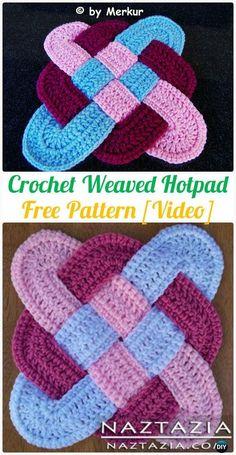 CrochetWeaved Hotpad Free Patterns - Crochet Pot Holder Hotpad Free Patterns