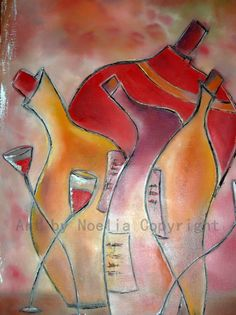 Happy Hour Colorful original oil painting with by ArtByNoeliaC, $399.00