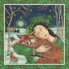 A beautiful Yule Card Celebrating the Fox & The Goddess by Artist Wendy Andrew, Ideal for you to send to your loved ones! Art And Illustration, Illustrations, Fantasy Kunst, Fantasy Art, Yule, Xmas Greetings, Pagan Art, Art Sculpture, Fox Art