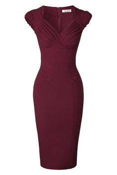 Newdow Lady's 50s Vintage V-neck Capsleeve Pencil Dress (Small, Light Blue) at Amazon Women's Clothing store: