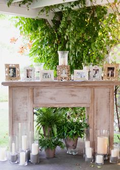 Rustic mantel reception decor to display family pictures and heirlooms Wedding Mantle, Wedding Fireplace, Rustic Wedding, Faux Fireplace, Fireplace Mantels, Autumn Wedding, Rustic Mantel, Rustic Patio, Wood Mantels