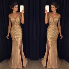 Gorgeous Sexy Gold Rhinestone Side Slit Long Prom Dresses The dress is fully lined, 4 bones in the bodice, chest pad in the bust, lace up back or zipper back are all available, total 126 colors are av