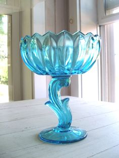 Vintage Aqua Blue Lotus Indiana Glass Compote by lookonmytreasures on Etsy https://www.etsy.com/listing/241106136/vintage-aqua-blue-lotus-indiana-glass