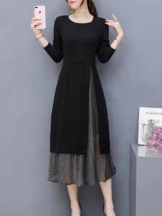 Elegant dress black cotton blend long sleeve two piece crew neck natural elegant going out daily solid 修身 mid weight slightly stretchy spring sweet mid calf Stylish Dresses, Simple Dresses, Casual Dresses, Fashion Dresses, Sexy Dresses, Formal Dresses, Summer Dresses, Wedding Dresses, Ladies Dresses