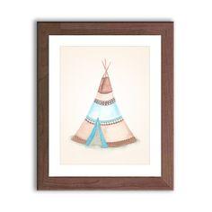 Teepee Painting - Tribal Art PRINT - Teepee Watercolor Painting - Nursery art - Nursery Decor - Blue and Brown - Home Decor - PRINT on Etsy, $13.16 AUD