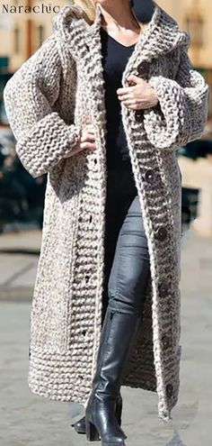 Casual Plus Size Turtleneck Sweater Pullover Knit Cardigan Pattern, Knitted Baby Cardigan, Knit Baby Sweaters, Crochet Coat, Crochet Clothes, Long Cardigan Coat, Long Sleeve Sweater, Cardigan Outfits, Hooded Cardigan