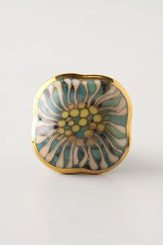 Cloisonne Chrysanthemum Pull - there are lots of cool door knobs and if you want a new look on your bathroom cabinets or an old dresser consider changing the knobs to vintage designs available at many re-use stores or other stores like Anth Dresser Drawer Knobs, Cabinet Knobs, Drawer Pulls, Door Knobs, Cabinet Hardware, Desk Cabinet, Kitchen Dresser, Kitchen Knobs, China Cabinet