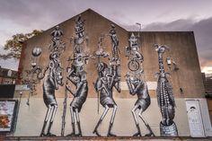 Phlegm for Featurewallsshf in Sheffield, UK, 2016 Sheffield Art, Yorkshire England, Art Festival, Street Artists, Urban Art, Surrealism, Graffiti, Moose Art, Paint Walls