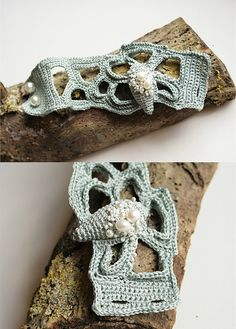 Crochet Freeform cuff with pearls and shell shape