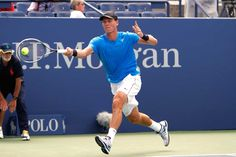 Tomas Berdych (CZE)[6] in action against  David Goffin (BEL) in the first round. - Philip Hall/USTA
