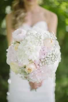 Bridal bouquet that I made and am very happy with how it turned out: blush peonies, ivory peonies, baby's breath, peach garden roses, Queen Anne's lace, ivory hydrangea. @S Cluney Photo