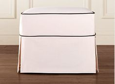 Custom made ottoman slipcover with piping