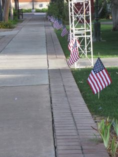 the red, white, and blue flags looks fabulous against the green lawns
