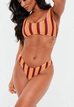 7a2e060c0b139 Missguided Orange Stripe Mix and Match High Leg Bikini Brief