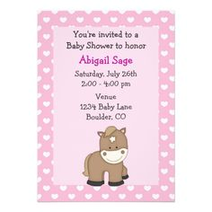 Cute Pony Baby Shower Invitation for Girls