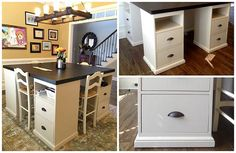 I just love this idea it is so simple yet looks like it cost $1000s, They used tops from Ikea and says that after his kids get to big to sit together. They built this four station desk in a way that they can be taken apart and you would have 2 desks that could still be used separately