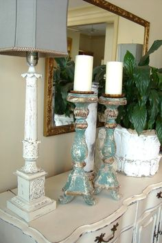 like the color combo and amount of distressing on candle holders-perhaps try this on small hutch