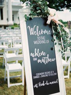 Chalkboard wedding welcome sign   Alexandra Elise Photography