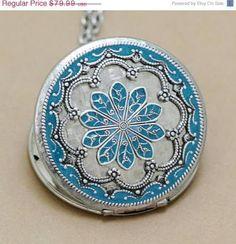 ON SALE Turquoise Blue Locket,Locket,Silver Locket,filigree locket necklace,Enamel Locket,photo locket, vintage locket,Wedding Necklace,brid
