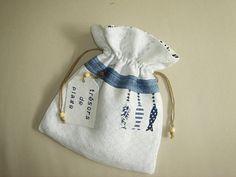 Sac pochon en lin/coton fin damassé , esprit bord de mer : Etuis, mini sacs par mc-palf