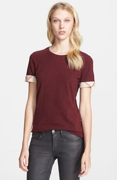 Burberry Brit Check Trim Tee available at #Nordstrom