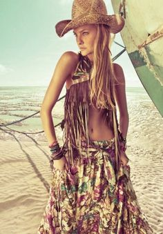 Cowgirl high fashion style with a bohemian touch
