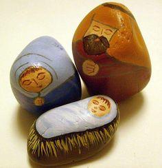 Nativity scene figures painted on decorative stones by Cindy Thomas (nativity sets)