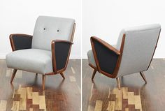 #Cocktail_Chair #Vintage_Armchair #Retro_chair #50s #60s #70s #Midcentury  A beautiful vintage armchair. Lovely design with tapered and splayed legs so typical of an era. Reupholstered in a two shades of grey wool fabric www.viremo.co.uk