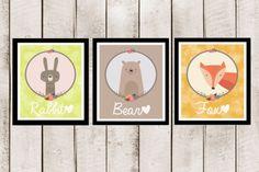 3-Woodland-Animal-Bubble-Prints-Pictures-Baby-Kids-Nursery-Fox-Bear-Rabbit