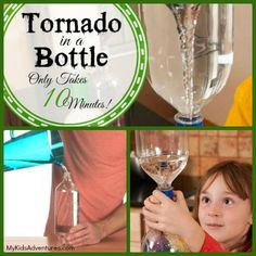 Make a tornado in a bottle, using two plastic bottles and duct tape. You and your kids will see how a tornado vortex is formed by creating one yourselves. from @Steve Spangler Science via @My Kids' Adventures