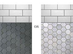 Unique Honeycomb Tile Floor Ideas – Decornish [dot] com – marble bathroom Hexagon Tile Bathroom Floor, Marble Tile Bathroom, Bathroom Flooring, Tile Floor, Hex Tile, Hexagon Tiles, Tiling, Marble Floor, Black Hexagon Tile