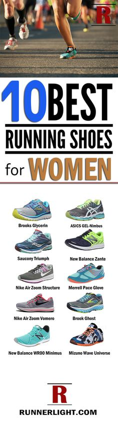 List of 10 Best running shoes for women with flat feet, high arches, knee pain, wide feet, Plantar Fasciitis ... by Nike, Brooks, Adidas, Asics, New Balance.