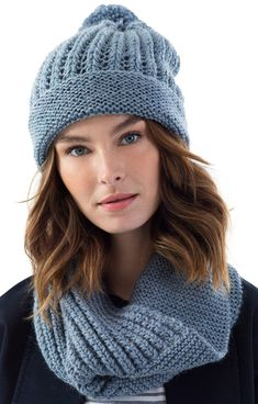 Free Knitting Pattern for Easy Greenpoint Hat and Cowl - Hat and cowl are knit flat and seamed in garter stitch and a 2 row repeat easy eyelet stitch. You need to do yarnovers, increases and decreases (described in the patterns). Rated beginner level by the designer.